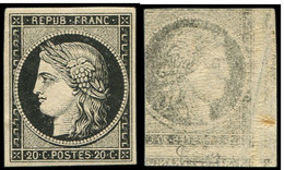 ** EMISSION DE 1849 - 3a   20c. Noir Sur Blanc, Impression RECTO-VERSO, TTB. C - 1849-1850 Cérès