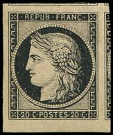 * EMISSION DE 1849 - 3    20c. Noir Sur Jaune, Marges Exceptionnelles, Superbe - 1849-1850 Cérès