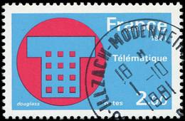 VARIETES - 2130a  Télématique, SANS RAYURES Horizontales, Obl., TB. C - Variétés: 1980-89 Oblitérés