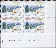 ** VARIETES - 4441   Traité De Savoie, 0,56, Teinte De Fond DECALEE, BLOC De 4 Cdf TD 202 Daté 3/2/10, TB - Variétés: 2010-.. Neufs
