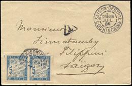 Let Colonies Générales - Taxe 18 : 5c. Bleu, PAIRE Obl. Càd SAIGON CENTRAL 28/7/05 S. Env., TB - Autres