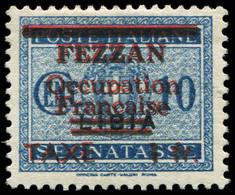 * FEZZAN Taxe 2a : 1f. Sur 10c. Bleu, DOUBLE Surcharge Noire Et Rouge, TB. C - Non Classés