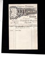 BRUXELLES - Facture Illustrée 1927 - Etiquettes, Cartonnages - Imprimerie, Lithographie - J.J. LEMOINE - 1900 – 1949