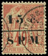SAINT PIERRE ET MIQUELON 14 : 15c. Sur 40c. Orange, Obl. Càd Bleu, TB - Used Stamps
