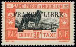 ** SAINT PIERRE ET MIQUELON Taxe 53 : 30c. Rouge-orange Et Noir, TB. S Et Certif. Roumet - Timbres-taxe