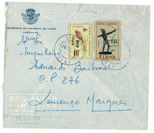 PORTUGAL TIMOR To Lourenco Marques Cover With 2,5 Escudos + 50 Centavos Stamps, Circulated - Timor