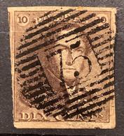 Epaulet 1 Gestempeld P75 LOKEREN - Brun Roux - 1849 Epaulettes