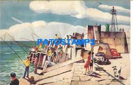 153005 ARGENTINA MAR DEL PLATA ART SIGNED MARTINET ESCOLLERA SUD ED REY Nº 1626 BREAK POSTAL POSTCARD - Argentina