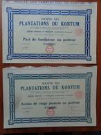 COCHINCHINE - SAIGON 1927 - 2 TITRES - PLANTATION DU KONTUM : PART DE FONDATEUR & ACTION DE 20 PIASTRES - Non Classés