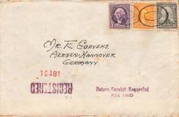 US Letter USA To Germany Registered Camden Via NY , Aerzen , Return, 1938 - Covers & Documents