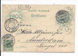 DR P 43 - 5 Pf Germania Jhd-Kte M. 5 Pf ZF  Von Anholt Nach Amsterdam 1900 Bedarfsverwendet - Stamped Stationery