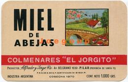 Ilustrated Label Etiqueta Honey Miel De Abejas El Jorgito Pilar Santa Fe Argentina 1970 - Otros