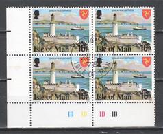 Isle Of Man 1978 Mi 117A (t14.3/4) In Block Of 4 Canceled - Isla De Man