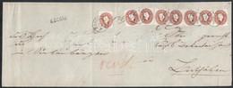"""1861 Nagyalakú Ajánlott Levél 9 X 10kr Bérmentesítéssel """"SZÁSZ-RÉGEN"""" - Birthälm. Certificate: Diena - Non Classificati"""