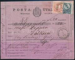 """1875 Távirati Postautalvány Réznyomat 10kr és Színesszámú 5kr Vegyes Bérmentesítéssel """"POSTA-UTALVÁNY / SZABADKA"""" (150.0 - Non Classificati"""