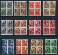 ** Muraszombat 1945 12 értékes Teljes Sor Luxus ívszéli Négyes Tömbökben, Minden érték Bodor Vizsgálójellel (140.000+++) - Non Classificati