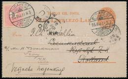 1895 5kr Zárt Díjjegyes Levelezőlap 5kr Kiegészítéssel Hollandiába Majd Továbbküldve Az USA-ba / PS-cover Card With Addi - Non Classificati