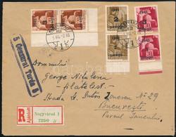 1945.03.02. Ajánlott Távolsági Levél Nagyváradról Bukarestbe, 3 Pár összefüggő Nagyvárad I.-II. Típusú Bélyegekkel Bérme - Non Classificati