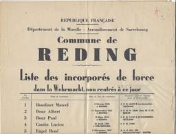 """1947- Affiche De REDING -liste Des Incorporés De Force ( Malgré-nous """" Non Rentrés à Ce Jour - Alsazia Lorena"""