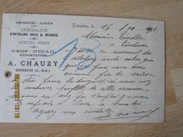 Tonneins Primeurs Gibier Ortolans Alouette  A Chauzy Carte Commerciale - 1900 – 1949