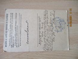 Hospice Mixte De Langres Bulletin Sante Cachet Franchise Postale Guerre 14.18 - WW I