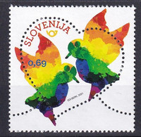 SLOVENIA  2021,NEW 29.01,LOVE STAMPS,HEART,BIRDS,MNH - Slovénie