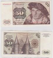 T145621 Banknote 50 DM Deutsche Mark Ro. 277a Schein 1.Juni 1977 KN KF 2390818 X - 50 Deutsche Mark