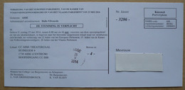 België 2014 Kieswet Portvrijdom - Zonder Portkosten