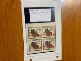 Bloc De 4 Vignettes Non Dentelé -colonie Française De Rome - Croix Rouge /militaire - Croix Rouge