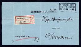 A6954) DR - Postgeschichte - R-Rückschein V. Neustaedtel 14.10.89 N. Sprottau - Storia Postale