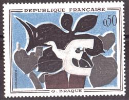"""Couleurs Décalées : Liseré Blanc Prononcé, Signature Illisible Sur N° 1319 Neuf ** - """"Le Messager"""" De G.Braque - Variétés: 1960-69 Neufs"""