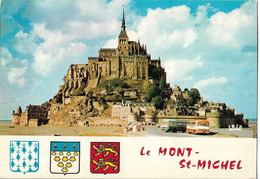LE MONT SAINT MICHEL - Vue - Voiture - Autocar - Blason - Le Mont Saint Michel