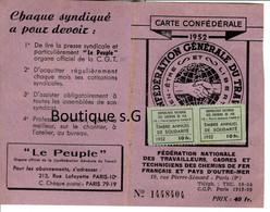 Carte Confederale Federation Generale Du Travail 1952 Timbre Solidarité Chemins De Fer Francais SNF Fouillet Norbert 37 - Documentos Históricos
