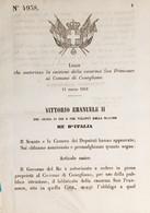 Decreto Regno Italia Cessione Caserma San Francesco Al Comune Di Conegliano 1869 - Unclassified