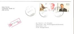 REF3427/ TP Buzin Oiseau -  Baudouin Velghhe-Albert II S/L.Recommandée C.St. Vith 14/4/1995 > Bütgenbach - Covers & Documents