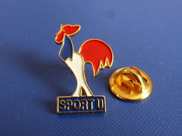 Pin's Sport U FNSU - Fédération Nationale Française Des Sports Universitaires - Coq Tricolore - Dos Lisse (PU37) - Altri