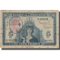 Billet, New Hebrides, 5 Francs, KM:5, TB - Nouméa (New Caledonia 1873-1985)
