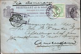 "SURINAME 1892 5C POSTKAART + 3C  PARAMARIBO - DEMERARA -AMSTERDAM CACHET ""SURINAME-PLYMOUTH"" - Suriname ... - 1975"