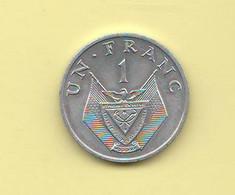 Rwanda 1 Ruanda  Franco Un Franc 1969 Typological Currency Aluminum Coin - Rwanda