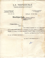 La Mondiale Assurance Vie Fouillet Norbert Lille 1934 Lettre Melle Quittance - Documentos Históricos