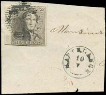 N°1 - Epaulette 10 Centimes Brune, Très Bien Margé Et Beau Bdf Gauche, Obl. D.34 Sur Petit Fragment Avec En Plus Le Cach - 1849 Epaulettes