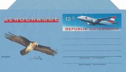 Österreich 1995 Aerogramm 12 S. Austrian Airline Flugzeug Vogel Bartgeier - Postwaardestukken
