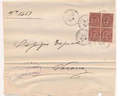 1893 UMBERTO QUARTINA 0,10 CENT CARMIGNANO DI BRENTA - Marcofilía
