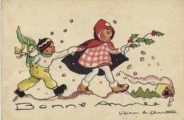 Illustrateur Lilianne De Christen Bonne Année 2 Enfants Houx Gui  RV - Szenen & Landschaften