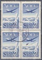 DO 16617 FINLAND GESTEMPELD YVERT LUCHTPOST NR 3 IN BLOK VAN 4  ZIE SCAN - Usados