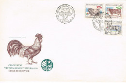 Tschechoslowakei / CSSR FDC Landwirtschaftsaustellung Ceske Budejovice (Budweis) - Kuh, Pferd, Hahn - Cartas