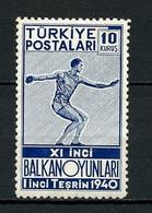TURQUIE 1940 N° 946 ** Neuf MNH  Superbe C 11 € Sports Jeux Balkaniques Ankara Lancement Disque Games - Ungebraucht