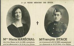Souvenir De Mme Maréchal Et Mr François Istace Assasiné à La Gleize Le 19-12-44 - Stoumont