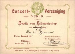 Venlo - Concert Vereeniging - Lidmaatschap - 1911 - Venlo