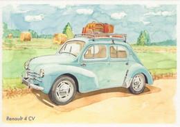 Renault 4CV  -  Art Card By Gérard Crevon De Blainville  -  CPM - Toerisme